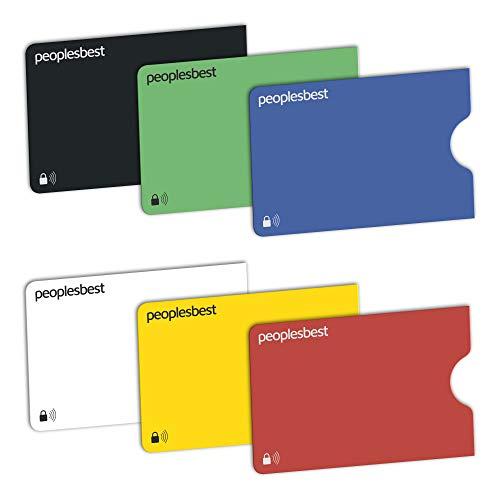 RFID & NFC Blocker Kreditkarten-Schutzhülle (6 Stück) | stabile EC Kartenhülle aus Kunststoff gegen Datenklau und unerlaubtes auslesen | super dünn & reißfest für 100% Datenschutz (Rainbow)