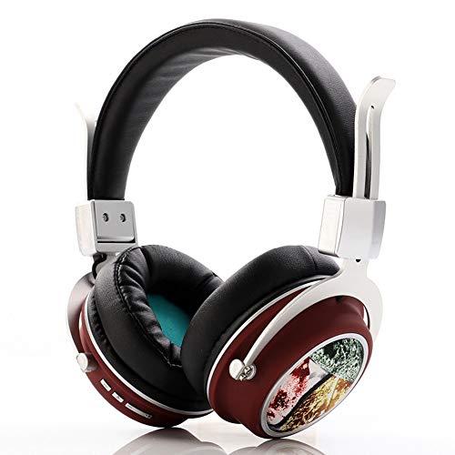Wsaman Cascos Inalambricos Bluetooth 5.0, Fidelidad Estéreo Cascos DJ con Active Cancelación de Ruido para Celular/Running Dispositivi Bluetooth Earphones,Rojo