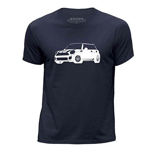 STUFF4 Ragazzi/Età 7-8 (122-128cm)/Blu Navy/Girocollo T-Shirt/Stampino Auto Arte / Cooper S