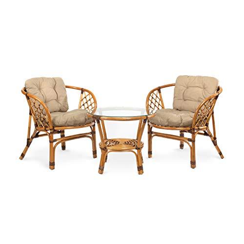 Ragnarök Juego de Muebles de jardín de ratán – Muebles de balcón – Muebles de jardín – Juego de Mesa – Juego de Muebles de balcón (Natur - Beige)