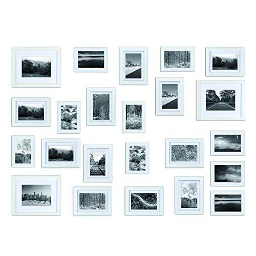 Bilderrahmen Set aus Echtholz mit Glasscheibe - 23er Set Fotorahmen Kollage - 115x85cm/195x89cm/176x130cm - Weiß - enthält Passepartout - Rahmenbreite 2cm!