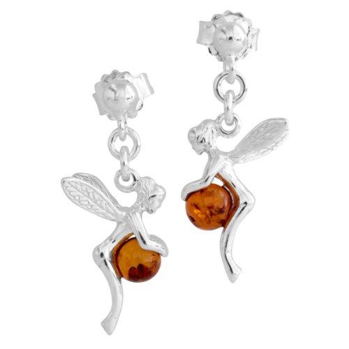 InCollections - Pendientes de plata de hadas con ámbar y cierre de mariposa a presión