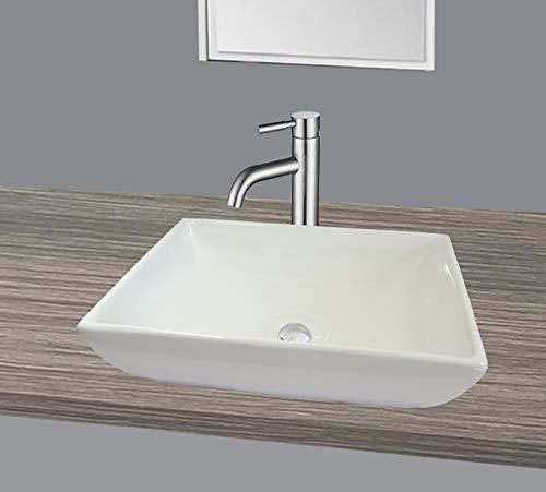 Lavabo de Cerámica pequeño Rectangular angular sobre encimera Blanco Baño 48,5cmL 32cmB