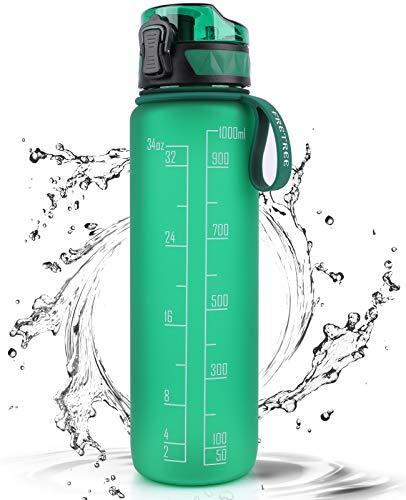 FRETREE Trinkflasche 1L Sport Wasserflasche - [Trinkflasche BPA Frei] Trinkflasche mit rutschfest Gummi Grip Geeignet für Die Fahrrad, Outdoor, Schule, Gym (Dunkelgrün)