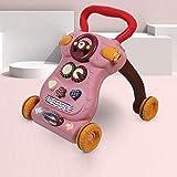 SONG El Andador Ajustable del Empuje del Bebé del Niño de La Velocidad con Aumenta y Pesa, Aprendizaje de Protección Ambiental Estable Multifuncional,Pink