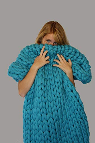 Ready to ship! Chunky Knitted Blanket, Handmade, Home Decor, Merino Wool Giant Knit, Throw Blanket, Wedding gift, Anniversary Gift, Bulky Hand Knit Blanket, Gift Mother's Day