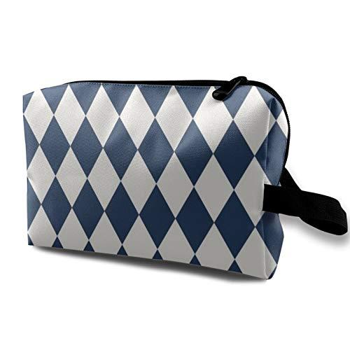 Bolsa de cosméticos de viaje, diseño de arlequín, color azul marino y crema, bolsa de almacenamiento con cremallera de 4.8 pulgadas x 6.5 pulgadas x 10 pulgadas