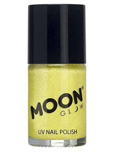 Moon Glow – Vernis à ongles à paillettes fluo UV 14ml Jaune. qui produisent un effet fluo incroyable sous la lumière ultraviolette ou noire !