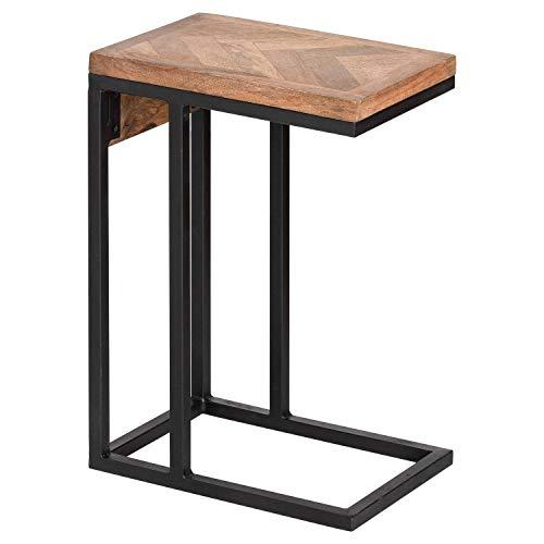 DOWNTON INTERIORS Mesa de sofá grande rústica de madera de mango negro y marrón natural (H21125) ** gama completa de muebles nórdicos a juego disponible**