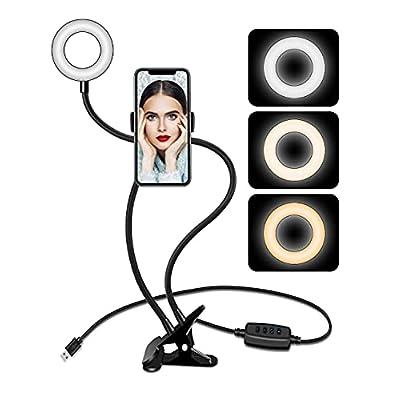 Selfie Ring Light for Phone, Portable Ring Light for Live, Flexible Cell Phone Holder for Bed, Upgraded Mini Clip on Ring Light for Desk, Social Media, Laptop, Travel, Usb 3 Ringlight Mode, Aro De Luz