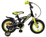 Amigo BMX Turbo - Bicicletta per bambini 12 pollici - Per Bambino di 3-4 Anni - Freno a mano, Freno a contropedale, Campanello per Bicicletta e Ruote di Supporto per Bambini - Nero