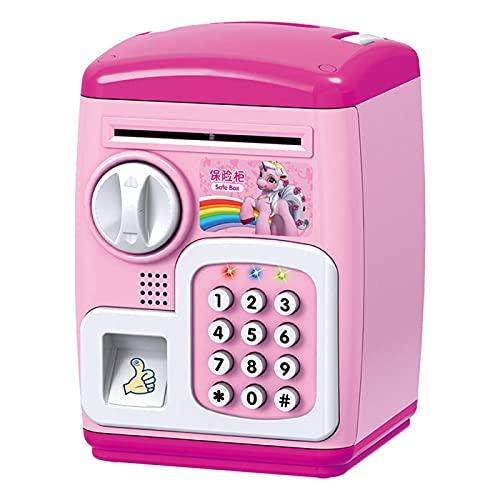 Yuan Ou Hucha Hucha electrónica Caja de Seguridad Cajas de Dinero para niños Monedas Digitales Ahorro de Efectivo Caja Fuerte Rosa