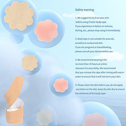 Cinta de Pecho Sujetador Pezoneras Adhesivas Invisible Push Up Cinta para el Cuerpo y 6 Pares de Cubiertas para Pezones para Copas A-E