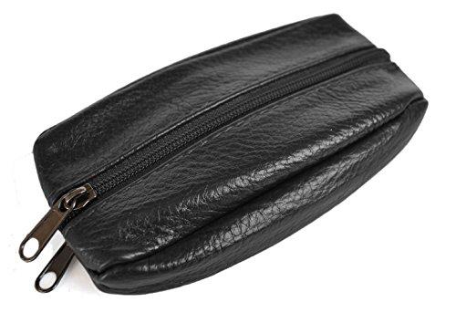 Porte-Monnaie - Cuir de Vachette souple - Modèle en forme de grain de café - 2 zips avec attache porte-clés - Pour poches pantalon ou veste - Noir, Noir (2 Zips), S