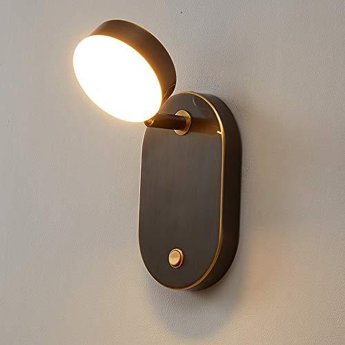 YBright American Industrial LED Lámpara de pared Acabado cepillado negro con sombra acrílica y interruptor de presión Soporte de cobre de la pared 7W Luz de pared moderna regulable para la oficina de
