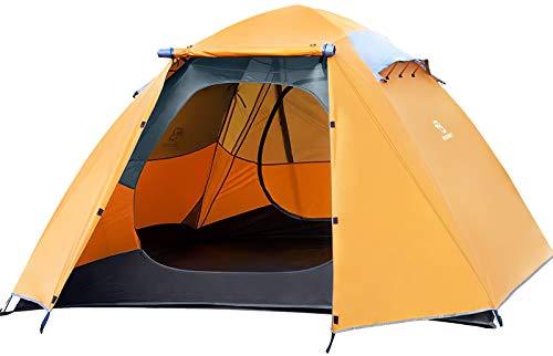 Bessport Tienda de Campaña 4-5 Personas Ligero con Dos Puertas A Prueba de UV/Viento Fuerte/Lluvia para Trekking, Campamento, Playa, etc (Naranja)