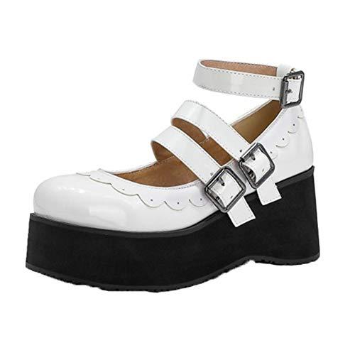 Zapatos Casuales Elegantes de Muy Buen Gusto para Mujer Lolita Lace Upper Triple Hebilla Correa Plataforma de Aumento de Altura Antideslizante Zapatos de cuña Bonitos para niñas