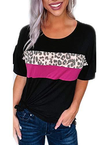 Blusa casual de manga corta con cuello redondo y estampado de leopardo, a rayas, blusa suelta, camiseta tipo túnica