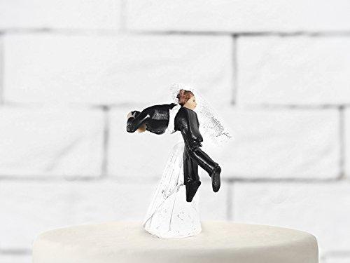 Party Deco Cake Topper Marié porté par la mariée sur Les épaules, céramique, Blanc et Noir