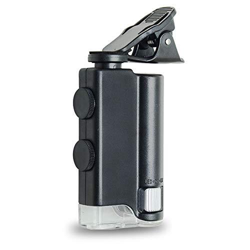 XIAN Lupa De Teléfono Móvil, Microscopio, Lupa De Alta Magnificación Led con Luz HD Mini Microscopio Portátil Hogar Joyería Antigua Identificación - Negro