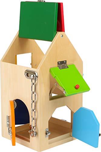 Small Foot Design- Small Foot 4432 Maison, Bois, avec serrures, loquets, Cadenas, verrous et chaînette de sécurité, à partir de 3 Ans Jouets de motricité, NS