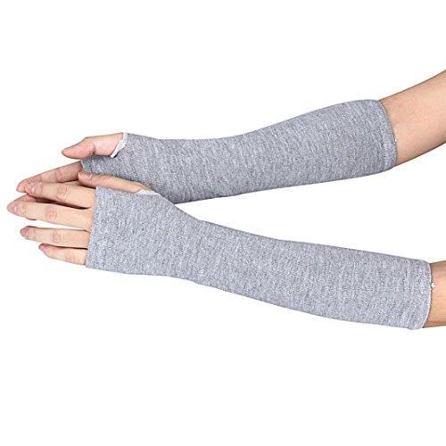 IEason Gloves, Winter Wrist Arm Hand Warmer Knitted Long Fingerless Gloves Mitten (Gray)