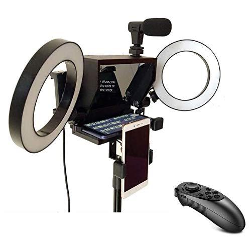 Mini Teleprompter Regolabile per Smartphone Videoregistratore Portatile per Riprese Video in Lega di Alluminio per Smartphone Telecamera Teleprompter Portatile per Trasmissioni in Diretta