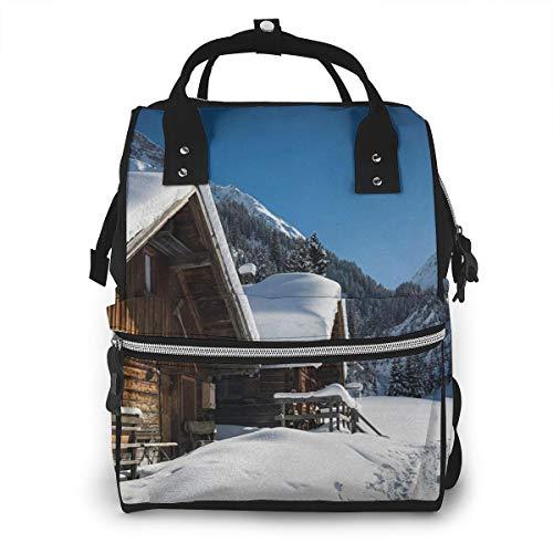 Bolsa para Cambiar Al Bebé Bolsa para Cambiar Pañales Mochila Gran Capacidad Impermeable Mochila para El Cuidado Del Bebé Casas Montañas Austriacas Nevado