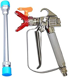 JWGJW 120028 Airless Paint Spray Gun,High Pressure 3600 PSI /517 Tip Swivel Joint with 10 Inch Extension Pole