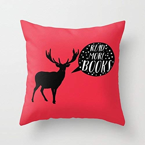 N\A Read More Books (Stag Red) Elk Deer Thinking Home Indoor For Decor Fashion Style Comfortanble Cotton Square Standar Size:IN (Two Sides)