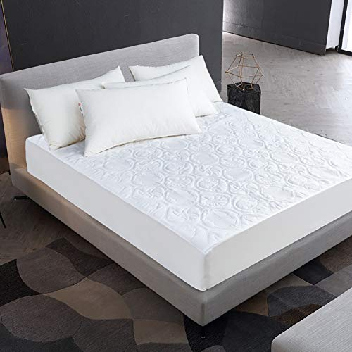 IUYJVR Solid Color Mattress Topper Mattress Protector,100% Waterproof Breathable Smooth Mattress Pad Cover Fitted Up To 30cm&12in(Not Included Pillowcase) White A 140x200cm(55x79inch)