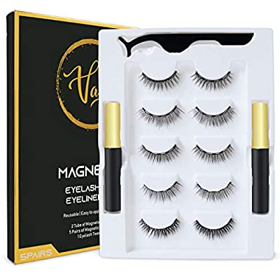 Magnetic Eyelashes with Magnetic Eyeliner Kit, Reusable, Cuttable, Strong Magnetism, Waterproof, Natural and Glamorous Looking, 4 Pairs