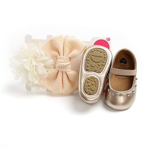 Prinzessinnenschuhe für Mädchen, rutschfest, weiche PU-Sohle, flache Schuhe mit 2 Haarbändern, Geschenke, Gold - Gold - Größe: 12-18 meses Ancho