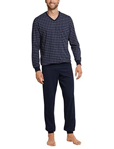 Schiesser Herren Anzug Lang Zweiteiliger Schlafanzug, Blau (Dunkelblau 804), S Large (DE: 026)