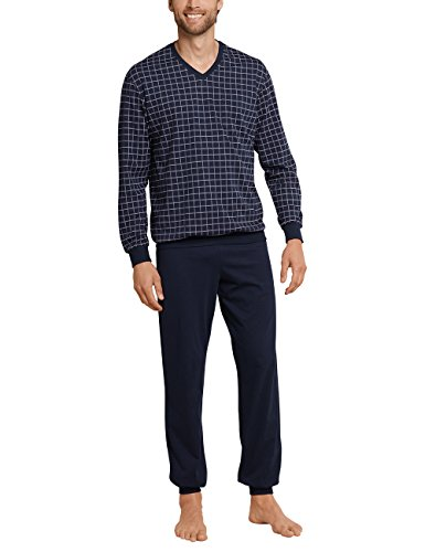 Schiesser Herren Schlafanzug lang mit Bündchen Zweiteiliger, Blau (Dunkelblau 804), X-Large (Herstellergröße: 054)