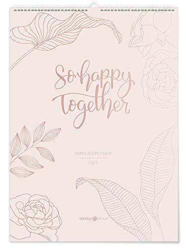 """Lebenskompass® Familienplaner 2021 6 Spalten """"Floral"""" - DIN A3 Familienkalender 2021 mit Ferienterminen & Vorschau 2022 - Familien Wand-Kalender XXL"""