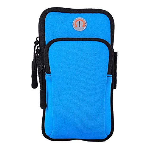 Sport Running Armband for Lenovo K6 C2 Power Phab 2 Plus K5 Pro K3 K9 Note 8 Fitness Phone Bag Holder Earphone Key Zipper Pouch for Lenovo A1000 A5 P2 P1 Z5 Z2 Z1 ZUK Edge VIBE Z K910(Arm Bag Blue)