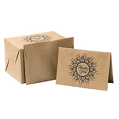 PAPER PRET - Krafty Thank You Cards with Matching Envelopes, 60 Count, Kraft Brown