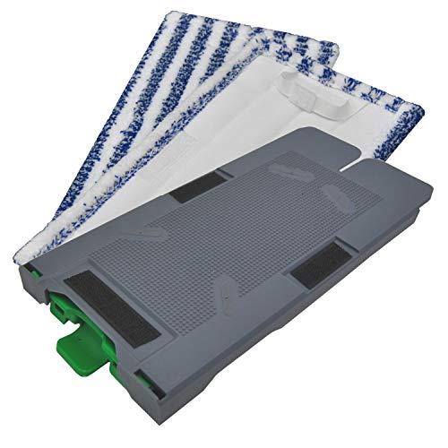 Ersatzplatte Reinigungstuchträger + zwei Reinigungstücher geeignet für Ihren Vorwerk Kobold SP520 und 530 Saugwischer Nassreiniger