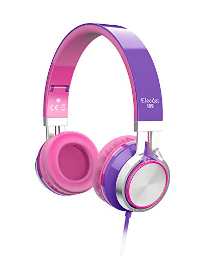 Elecder i39 Headphones with Microphone Foldable Lightweight Adjustable On Ear Headsets with 3.5mm Jack for iPad Cellphones Computer MP3/4 Kindle Airplane School Purple/Pink