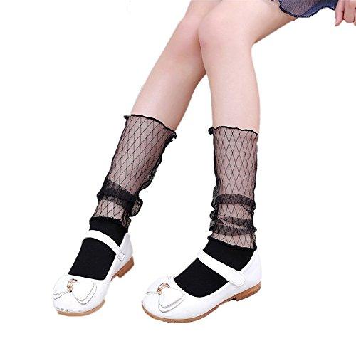 Hippolo Mädchen Socken Spitze Mädchen Strümpfe, Mädchen Kniestrümpfe Socken für 3-8 Jahre Kinderstrümpfe (Stil 2)