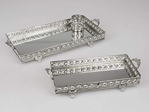 Formano Spiegeltablett Dekotablett Rechteckig Silberfarben