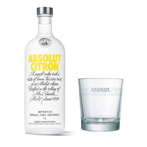 Absolut Vodka Citron Set avec Verre Tumbler Wodka, Naps, spirituose, Alcool, Boissons alcoolisées, Bouteille de 40% 1 l