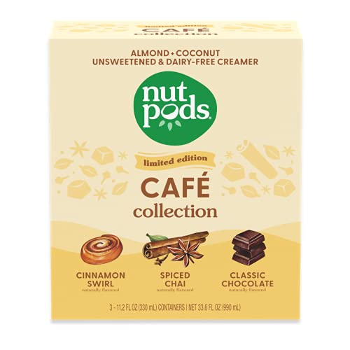nutpods Cafe Collection, (3-Pack), Unsweetened Dairy-Free Creamer, Made from Almonds and Coconuts, Gluten Free, Non-GMO, Vegan, Kosher