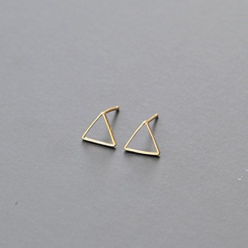 BAOZIV587 Oorbellen Crystal Fashion Europe, de Verenigde Staten kleine oor nagel oorbellen temperament driehoekige multi-gekleurde oren vrouw, Golden Triangle oor schroeven