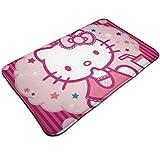 DNBCJJ Alfombrilla de baño, diseño de Hello Kitty, color rosa, antideslizante, absorbe suave, para interior y exterior, 19.5 x 31.5 pulgadas