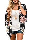 BB&KK Women's Chiffon Floral Kimono Cover Ups Tops Summer Lightweight Sheer Thin Cardigans Beach Boho Hawaiian Shirts Black Medium