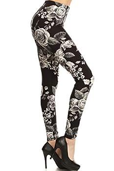 R603-3X5X Charcoal Rose Print Fashion Leggings 3X5X