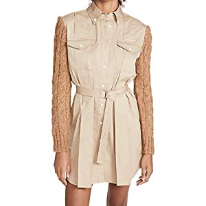 Derek Lam 10 Crosby Women's Vivian Mixed Media Shirt Dress