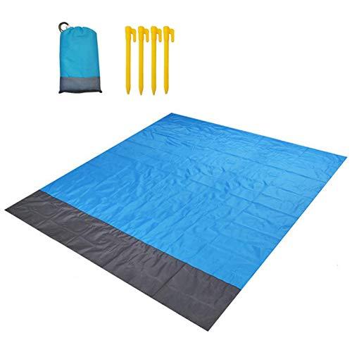 ZFYQ Alfombras de Playa, 210 x 200 cm Manta de Picnic Impermeable con 4 Estaca Fijo para la Playa Acampar Picnic y Otra Actividad al Aire Libre